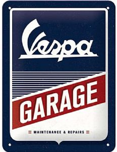 Vespa Garage  large embossed steel sign  400mm x 300mm (na)